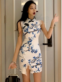 Wholesale Fashion Flowers Lace Split Tank Dress