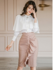 Grace Fashion Flouncing Blouse with Pleated Fishtail Skirt