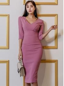 Fashion Korea V-neck Long Sleeve Bodycon Dress