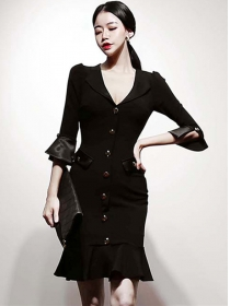 Modern Lady Single-breasted Flare Sleeve Fishtail Dress