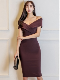 Sexy OL Cross Boat Neck Skinny Tank Dress