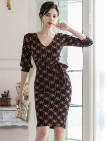 Summer New V-neck Tie Waist Houndstooth Slim Dress