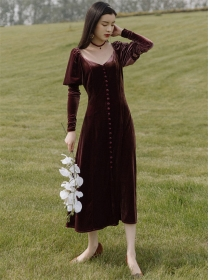 Spring Fashion Single-breasted Velvet Puff Sleeve Dress