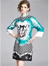 Hot Selling Plaids Cartoon Printings Loosen Dress