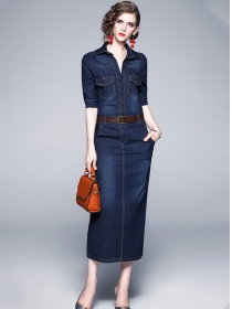 Quality New Shirt Collar Slim Denim Long Dress