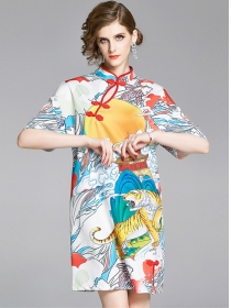 Retro Europe Tiger Printings Loose Cheongsam Dress