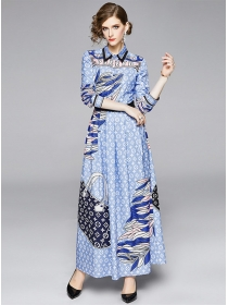 Modern Europe Flowers High Waist Shirt Maxi Dress