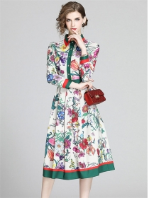 Europe Spring New Flowers Shirt Collar Long Sleeve Dress