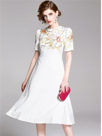 Modern Lady 2 Colors Flowers Embroidery A-line Dress