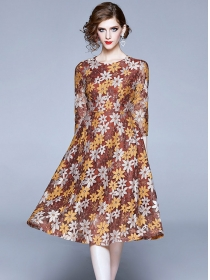 Europe Fashion Round Neck Lace Flowers A-line Dress