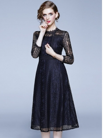 Spring Fashion High Waist Lace Flowers Long Dress