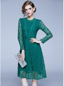 Modern New Round Neck Long Sleeve Lace Dress