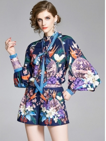 Europe Hot Selling Puff Sleeve Flowers Short Suits