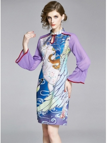 Retro Flowers Printings Flare Sleeve Cheongsam Dress