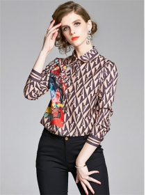 Stylish Europe Color Block Letters Flowers Blouse