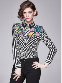 All Match 2 Colors Flowers Shirt Collar Long Sleeve Blouse