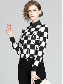 Fashion Classic Color Block Plaids Long Sleeve Blouse