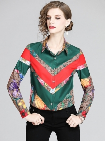 Wholesale Europe Flowers Long Sleeve Blouse