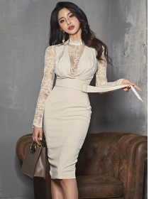 Modern OL High Waist Lace Splicing Slim Long Sleeve Dress