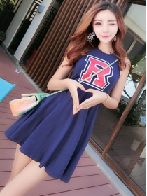 Wholesale Korea 2 Colors Letters Tank Short Dress
