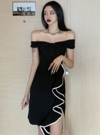 Korea Wholesale Boat Neck Flouncing Skinny Dress