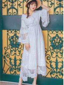 Fairy Spring Flare Sleeve Elastic Waist Lace Maxi Dress