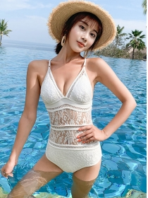 Korea Sexy Lace Hollow Out One Piece Bikini Swimsuit