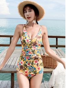 Wholesale Fashion Tie Waist Flowers One-piece Bikini