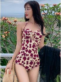 Wholesale Sexy Bowknot Bust Flowers Bikini Swimsuit