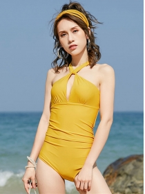 Modern Sexy Belly-cover Halter One-piece Bikini
