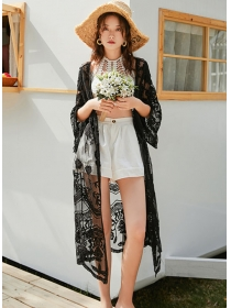 Fashion Summer Lace Flowers Loosen Bikini Cardigans