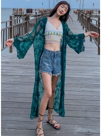 Hot Selling 2 Colors Lace Flowers Flare Sleeve Cardigans