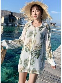Fashion Korea Sun-block Printings Loosen Blouse