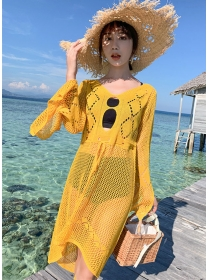 Hot Selling Hollow Out Flare Sleeve Bikini Blouse