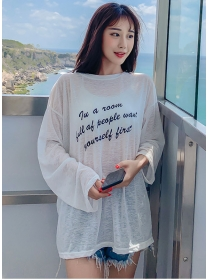 Wholesale Korea Sun-block Letters Loosen Blouse