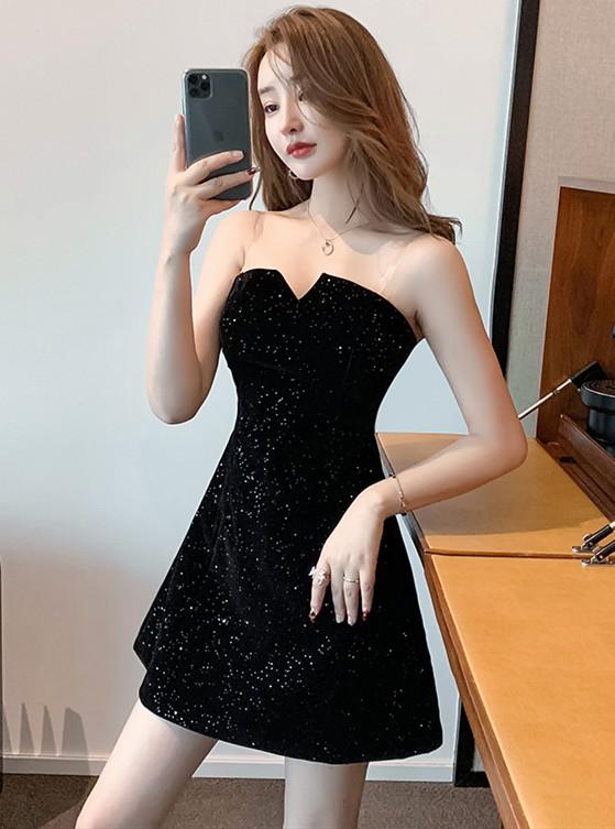 Wholesale Sexy Strapless Velvet Shining Dress