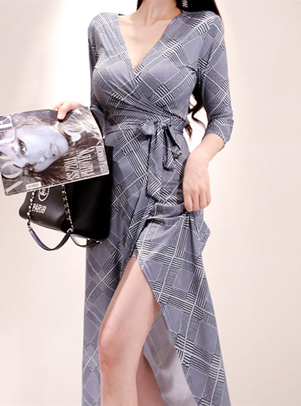 Fashion Korea V-neck Tie Waist Houndstooth Long Dress