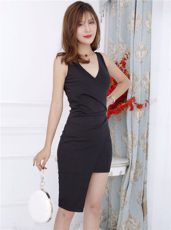 Wholesale Korea 3 Colors V-neck Pleated Slim Tank Dress