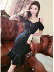 Modern Sexy 2 Colors Boat Neck Fishtail Slim Dress