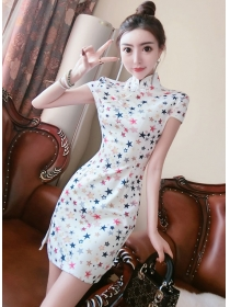 Pretty Fashion Stars Printings Slim Cheongsam Dress