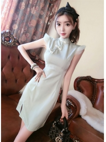 Fresh Girlish Frog Buttons Slim Tank Cheongsam Dress