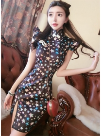 Wholesale Stylish Stars Printings Slim Short Sleeve Dress
