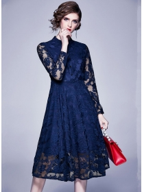 Europe Spring 2 Colors High Waist Lace Flowers Long Dress