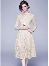 Grace Lady 2 Colors V-neck High Waist Lace Dress