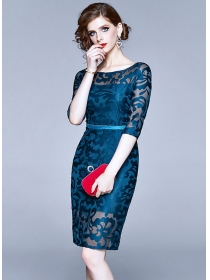 Europe OL 2 Colors Round Neck Lace Bodycon Dress