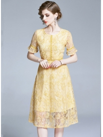 Charming Lady 2 Colors High Waist Lace A-line Dress