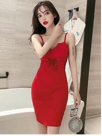 Modern Sexy 2 Colors Tie Waist Straps Slim Dress