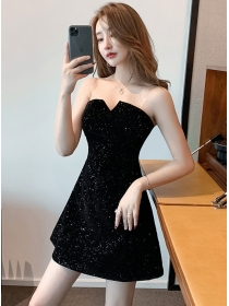 Wholesale Sexy Strapless Velvet Shining Dress