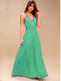 Wholesale Europe 2 Colors Lace High Waist Maxi Dress