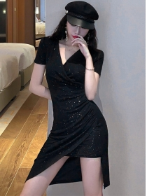Summer Fashion V-neck Shining Short Sleeve Dress